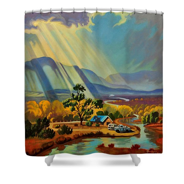 God Rays On A Blue Roof Shower Curtain