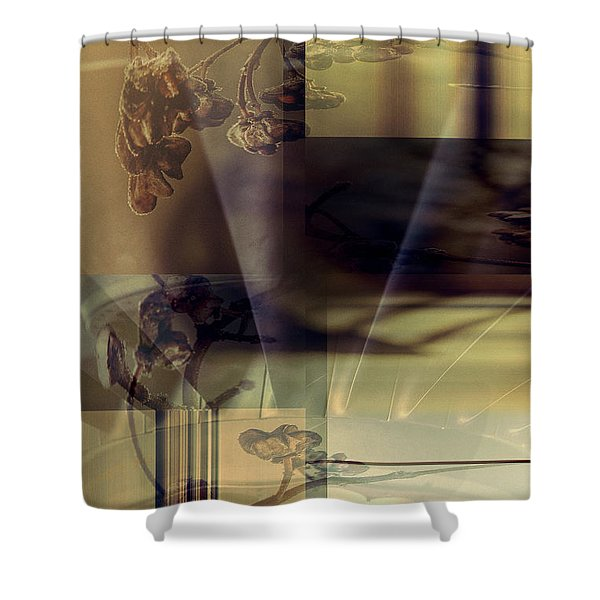 Shower Curtain featuring the digital art Gold Brown Tan Abstract by Robert G Kernodle