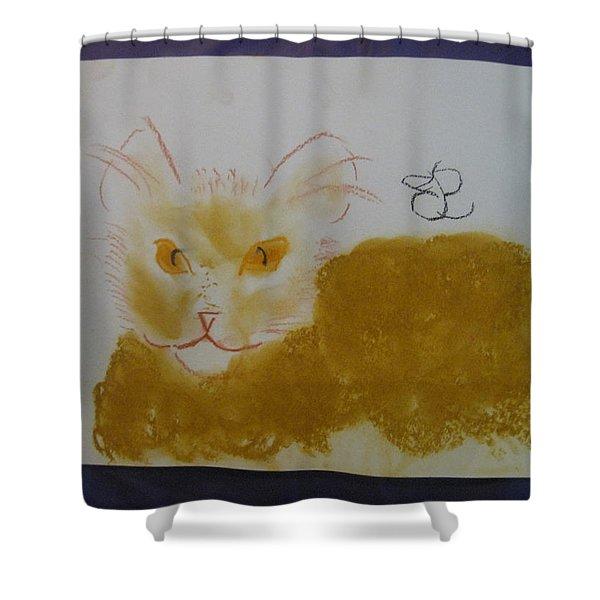 Golden Cat Shower Curtain