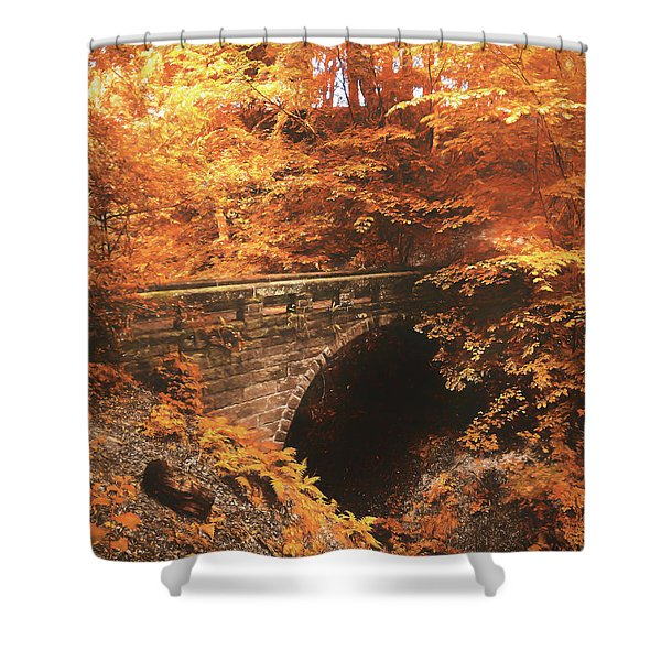 Golden Crossing Shower Curtain