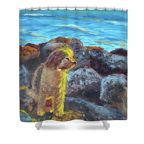 Golden Dog Shower Curtain
