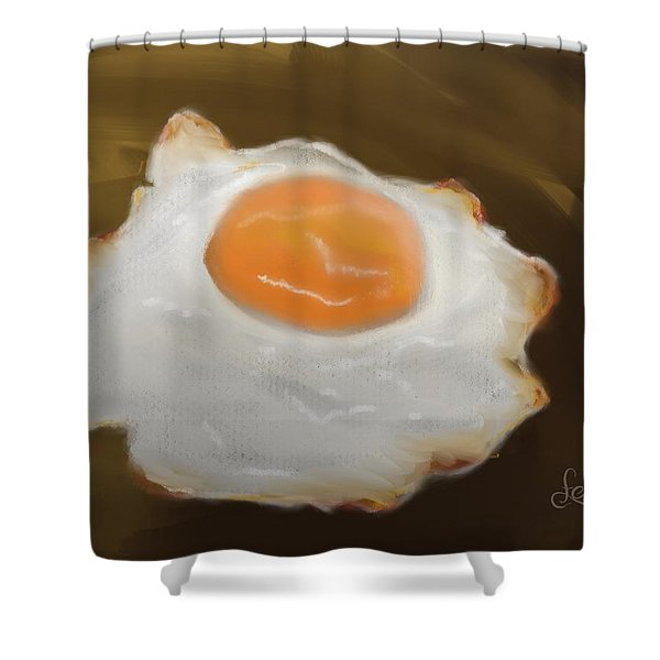 Shower Curtain featuring the pastel Golden Fried Egg by Fe Jones