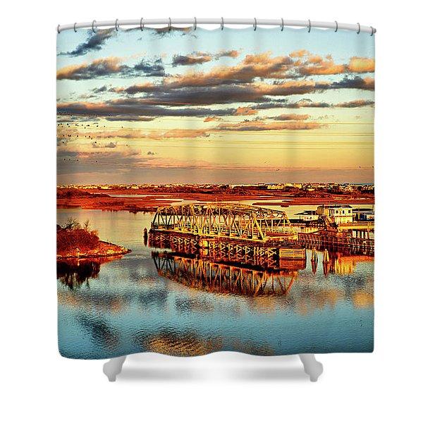 Golden Hour Bridge Shower Curtain