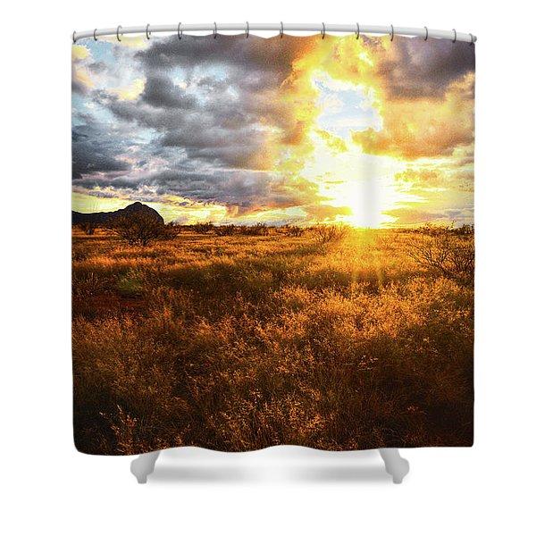 Golden Light Of Southern Arizona Shower Curtain