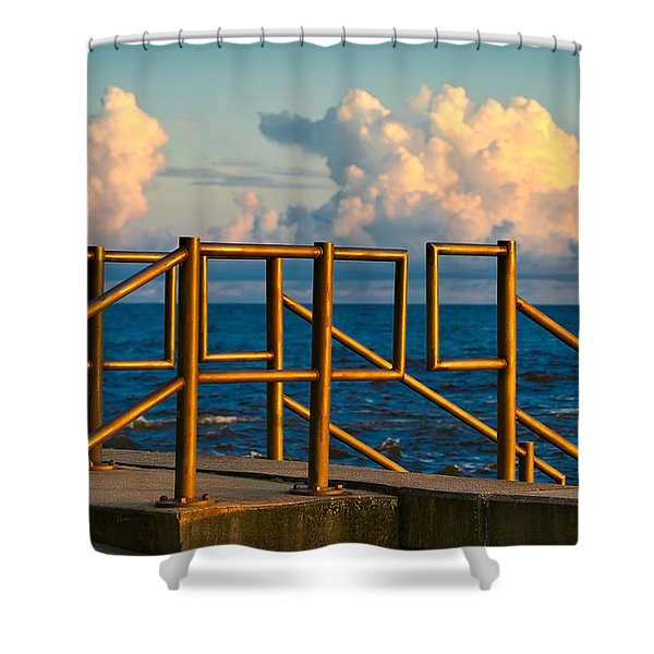 Shower Curtain featuring the photograph Golden Railings by Tom Gresham