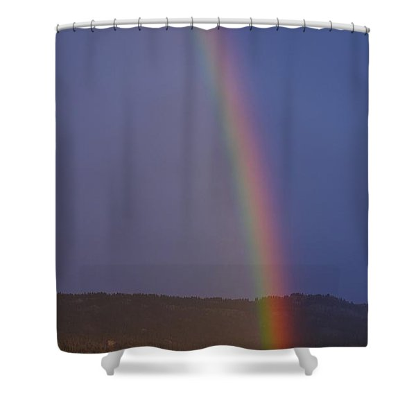 Shower Curtain featuring the photograph Golden Tree Rainbow by Tom Gresham