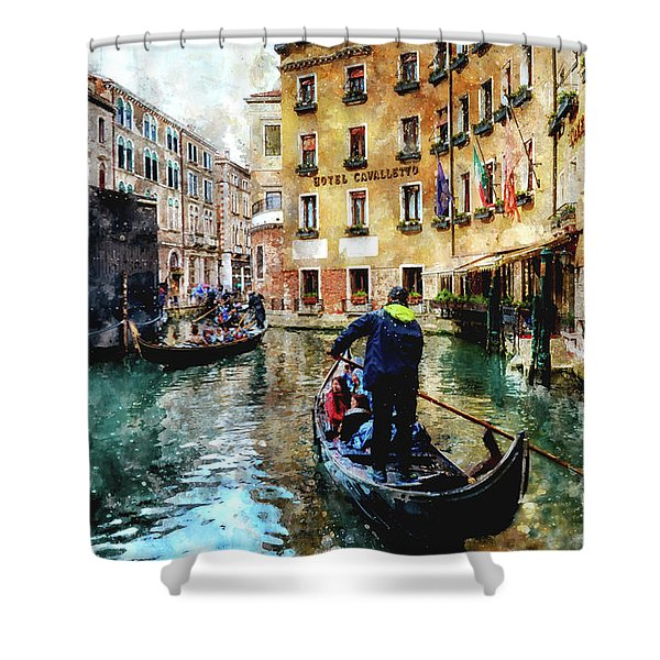 Gondola Traffic Near Piazza San Marco In Venice, Italy - Watercolor Effect Shower Curtain