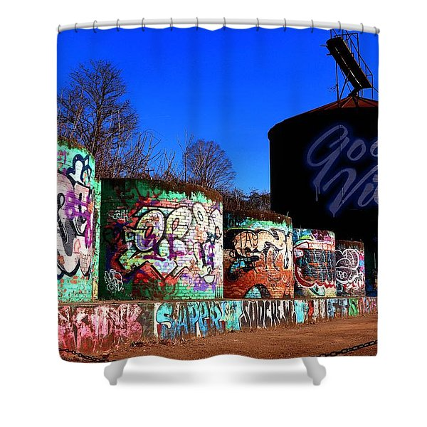 Good Vibes Asheville North Carolina Shower Curtain