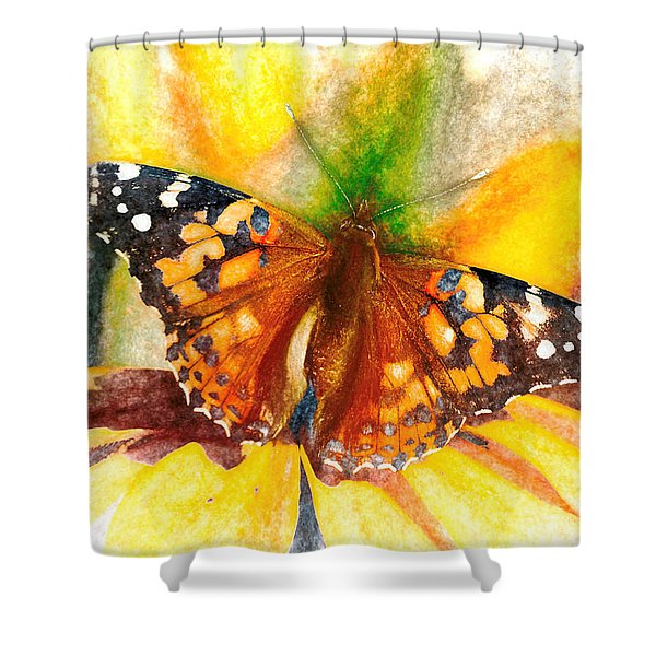 Gorgeous Painted Lady Butterfly Shower Curtain