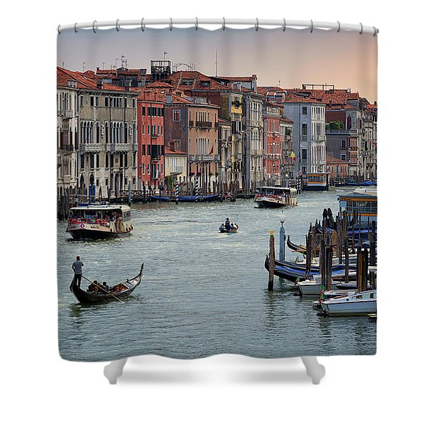 Grand Canal Gondolier Venice Italy Sunset Shower Curtain
