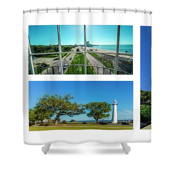 Grand Old Lighthouse Biloxi Ms Collage A1a Shower Curtain
