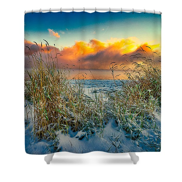 Grass And Snow Sunrise Shower Curtain
