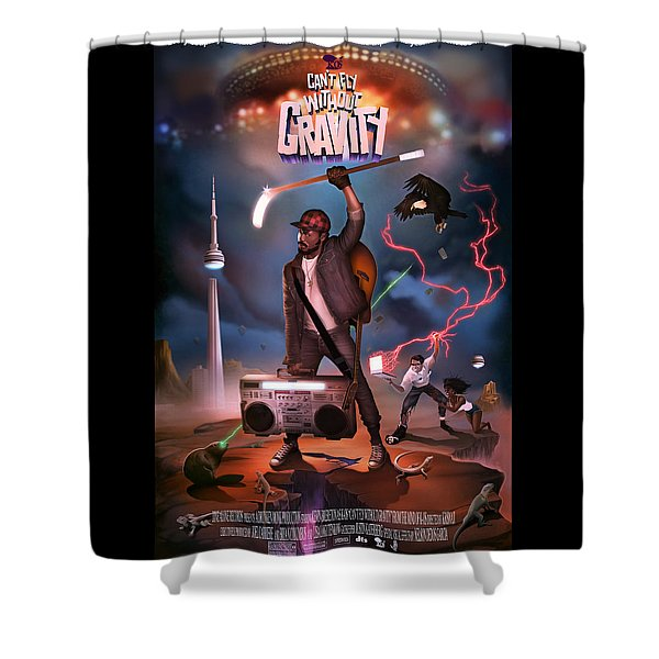 Shower Curtain featuring the digital art Gravity Poster by Nelson Garcia