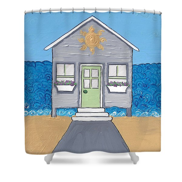 Gray Cottage On The Beach Shower Curtain