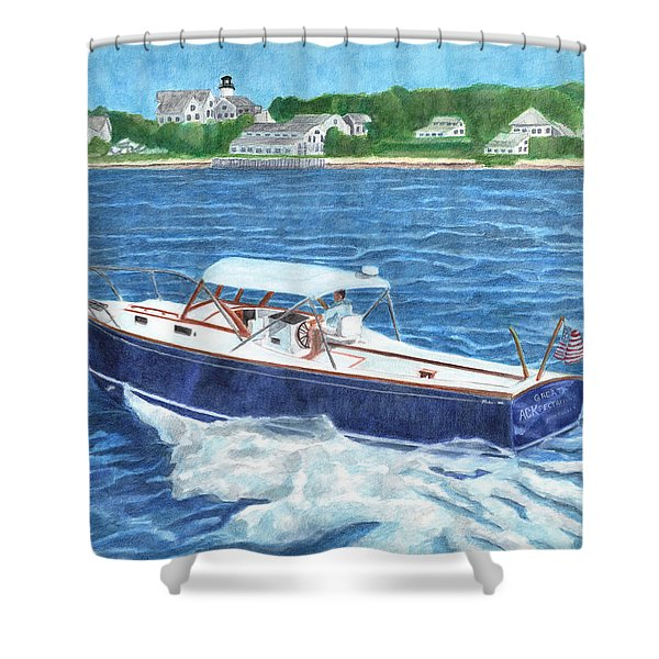 Shower Curtain featuring the painting Great Ackpectations Nantucket by Dominic White