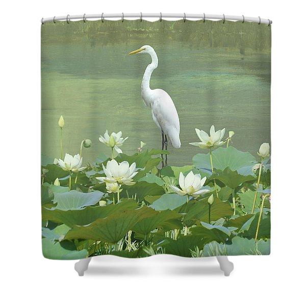 Great Egret And Lotus Flowers Shower Curtain