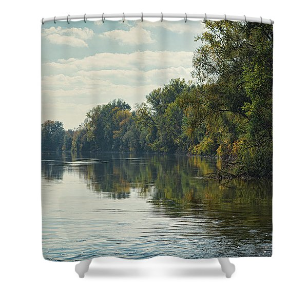 Shower Curtain featuring the photograph Great Morava River by Milan Ljubisavljevic