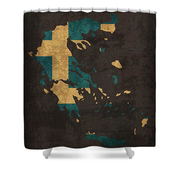 Greece Country Flag Map Shower Curtain