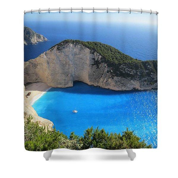 Greek Island Aerial View Of Sea Shower Curtain