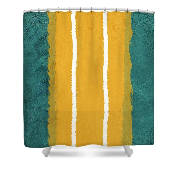 Green And Yellow Abstract Theme II Shower Curtain