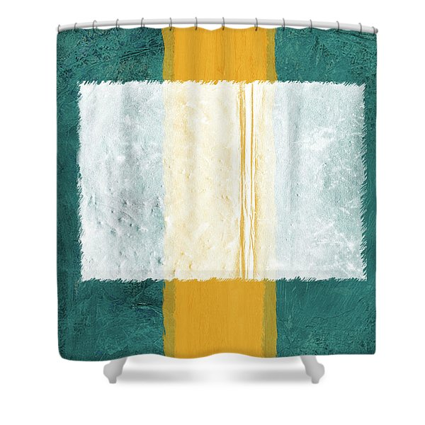 Green And Yellow Abstract Theme IIi Shower Curtain