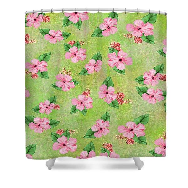 Green Batik Tropical Multi-foral Print Shower Curtain