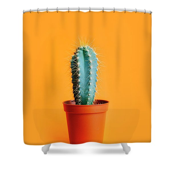 Green Cactus In Decor Pot Over Bright Orange Pastel Background.  Shower Curtain