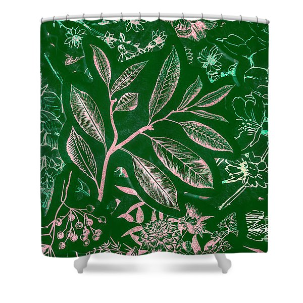 Green Composition Shower Curtain