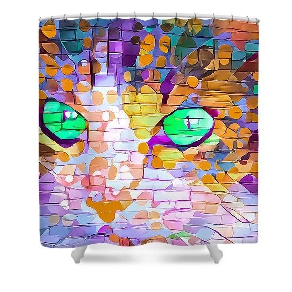 Green Eyed Cat Abstract Shower Curtain