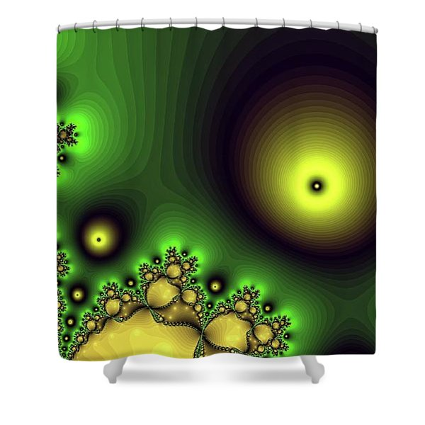 Green Glowing Bliss Abstract Shower Curtain