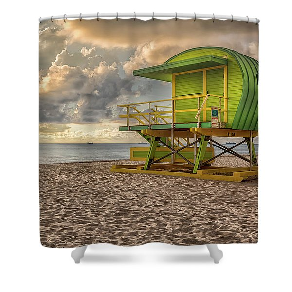 Green Lifeguard Stand Shower Curtain