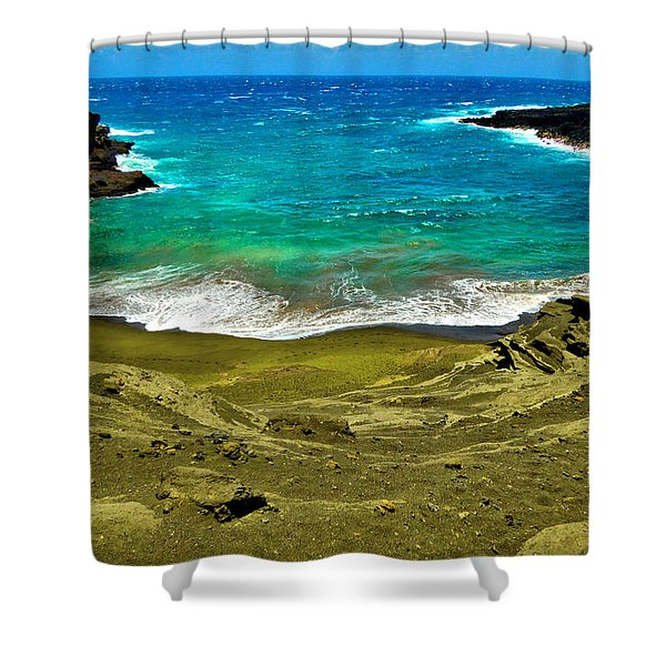 Green Sand Beach Shower Curtain