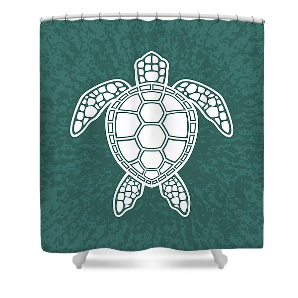 Green Sea Turtle Design - White Shower Curtain