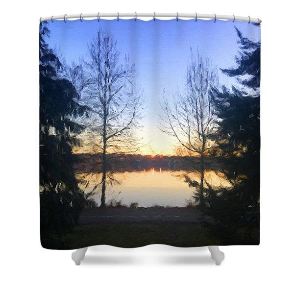 Greenlake Dawn Evergreens Shower Curtain