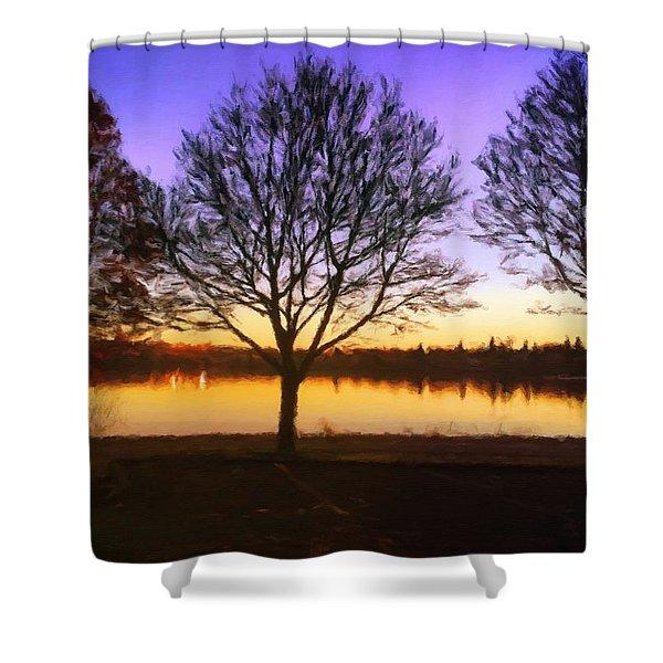 Greenlake Dawn Intensity Shower Curtain