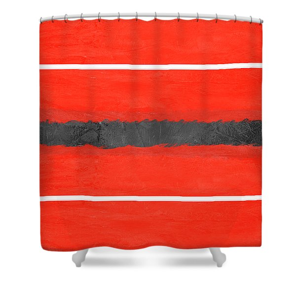 Grey And Red Abstract IIi Shower Curtain