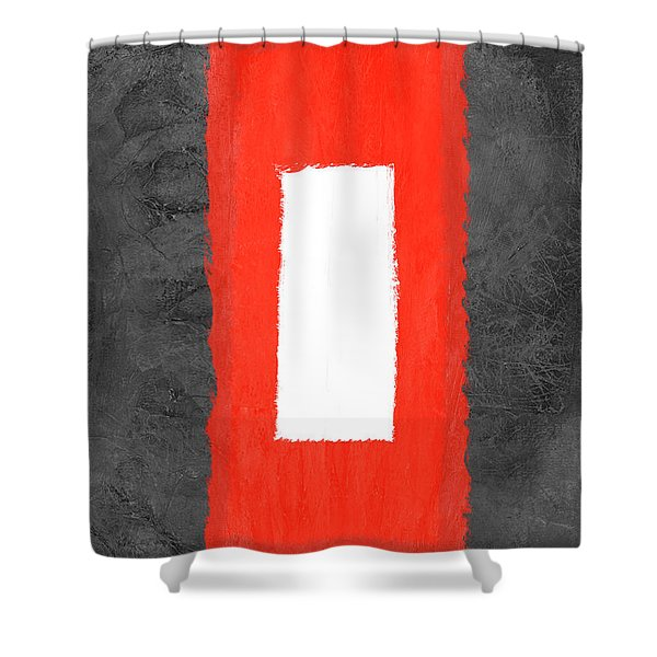 Grey And Red Abstract Iv Shower Curtain
