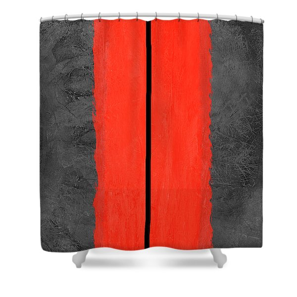 Grey And Red Abstract V Shower Curtain