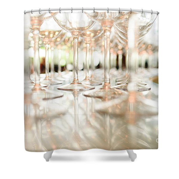Group Of Empty Transparent Glasses Ready For A Party In A Bar. Shower Curtain