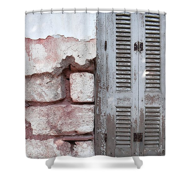 Grunge Wall And Window Shower Curtain
