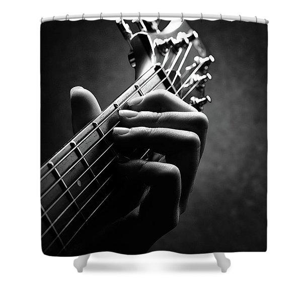 Guitarist Hand Close-up Shower Curtain