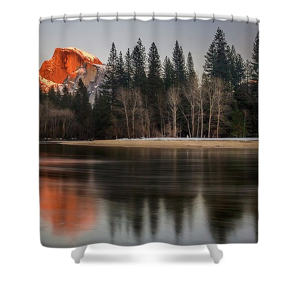 Half Dome Sunset In Winter Shower Curtain