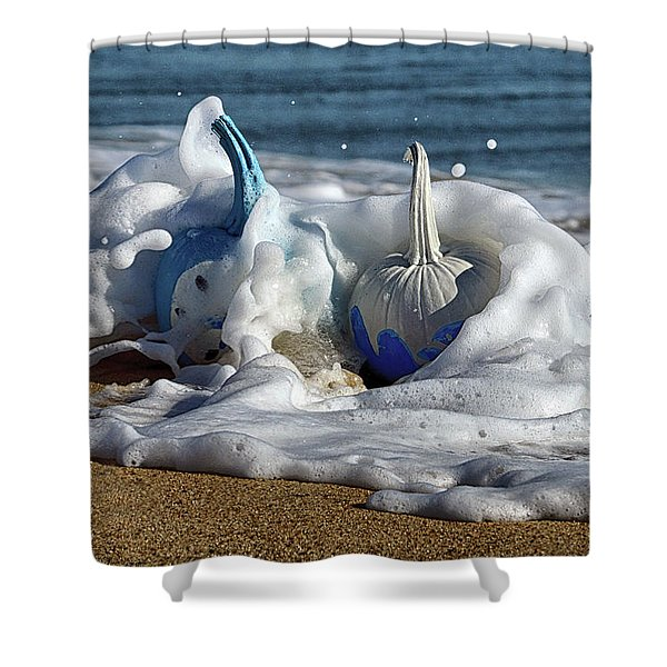 Halloween Blue And White Pumpkins In The Surf Shower Curtain