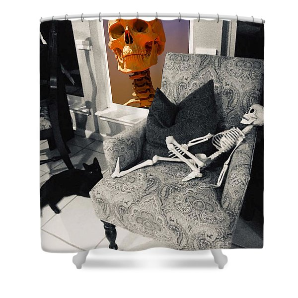 Shower Curtain featuring the digital art Halloween Window Dressing by Tristan Armstrong