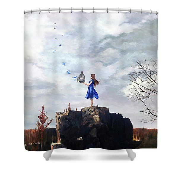 Happiness Released Shower Curtain