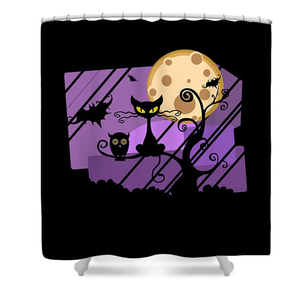 Happy Halloween Cat Shower Curtain
