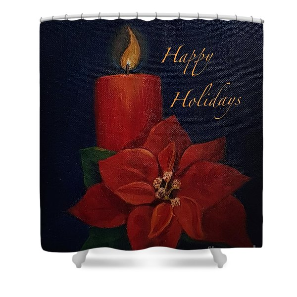 Shower Curtain featuring the painting Happy Holidays by Genevieve Brown