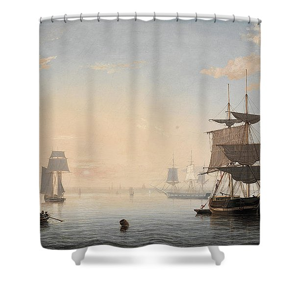 Harbor Of Boston, With The City In The Distance, 1847 Shower Curtain