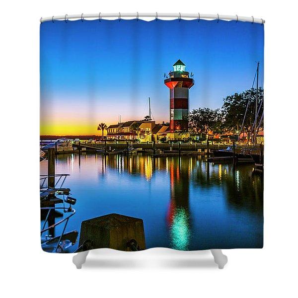 Harbor Town Lighthouse - Blue Hour Shower Curtain
