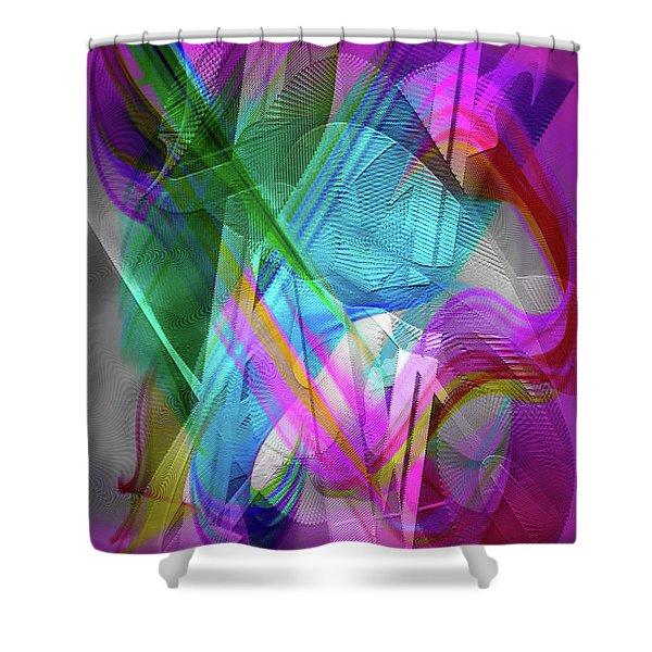 Shower Curtain featuring the digital art Harp by Visual Artist Frank Bonilla